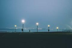 Last dawn (f.concord) Tags: dawn beach sea sky morning streetlights grass coast shore skyline