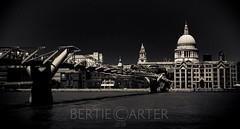 Millennium bridge and St Paul's (bertie.carter.photography) Tags: london united kingdom monochrome black white millennium bridge st pauls thames cathedral city building