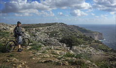 Dingly Cliffs (kate willmer) Tags: cliffs bike mountainbike mountainbiking sea mediterranean sky clouds shore dingly malta