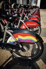 Pride in the City. (35mmMan) Tags: santander cycle canary wharf patterns pride rainbow huaweip20pro pride2018 borisbikes londonbikescheme