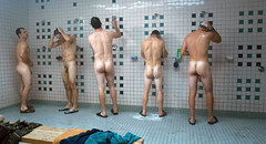 communal shower (nekkedguy2) Tags: ass buns butt naked nude wet armpits balls cock dick penis genitals testicles nuts pubes scrotum shoes shower