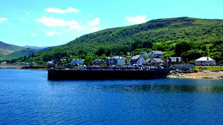 Scotland West Highlands Argyll the paddle steamer Waverley docking at Loch Ranza island of Arran video 24 June 2018  by Anne MacKay