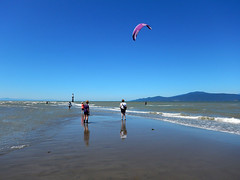 Low tide at Spanish Banks in Vancouver (albatz) Tags: cooling ocean beach lowtide spanishbanks vancouver wading kitesurfer canada