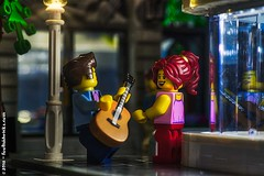 Hot summer evening (Foolish Bricks) Tags: lego legophotography toyphotography legography minifigures streetperformer evening music guitar summer love flirting fun