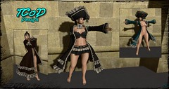 Pirate Outfit - Helen (syddarkaless) Tags: tcod design mesh fitmesh pirate outfit helen coat bra neck skirt hud textures slink physique maitreya