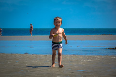 Matthieu was having a blast running around on the beach.