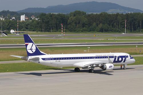 LOT Polish Airlines Embraer ERJ195; SP-LNA@ZRH;16.06.2018