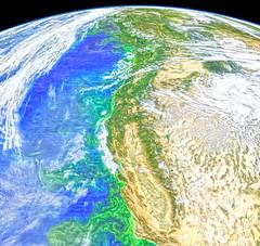 Green Stuff off of North America's West Coast, variant (sjrankin) Tags: 26june2018 edited nasa modis aqua projected pacificocean clouds northamerica centralvalley nevada california oregon washington britishcolumbia canada sierranevada