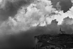The church (rvjak) Tags: black white noir blanc sky landscape church église d750 nikon france cloud nuage bw monochrome etretat