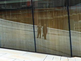 Paul and Jill reflected in the Oslo Opera House