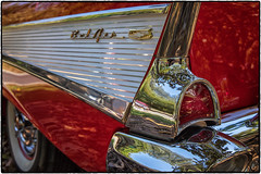 Car Art (drpeterrath) Tags: canon eos5dsr 5dsr car auto automobile show classic vintage belair red tailfin bumper chrome tire closeup dof losangeles sanmarino california