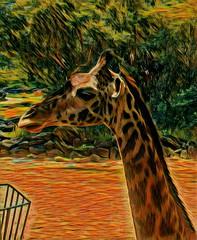 Artistic Moment! (jlynfriend) Tags: phonephoto lg park zoo animal giraffe art artwork graphicdesigning photo basket dirt shrubs