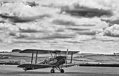flickr5 copy2 (Vaughan de Grave) Tags: plane moth landscape hills ww2 black white bw biplane