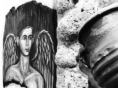 Angel seduced by curves. (AchillWandering) Tags: blackandwhite mono monochrome bw blackwhite laconia greece peloponnese elafonisosisland art pot painting angel frini drizou vowel