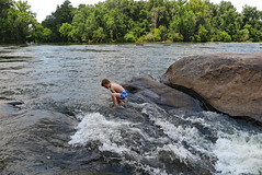 rivercrosuaza (FAIRFIELDFAMILY) Tags: jason taylor fairfield county sc south carolina broad river west columbia city rapids water swimming father son carson grant rock rocks adventure explore exploring michelle mother splash running child young boy sliding outside nature kayak kayaking white