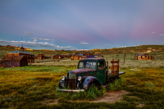 Anti-Crepuscular Rays in Belt of Venus Light (Jeffrey Sullivan) Tags: 1940 ford commercial green truck sunset anticrepuscular rays bodie state historic park abandoned wild west ghost town night photography workshop canon eos 6d digital photo copyright 2018 jeff sullivan july 7 weather photomatix hdr
