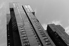 Waterside Plaza (Zach K) Tags: architecture nyc new york city kips bay high rise multifamily mf skyline manhattan landfill east side fujifilm fuji x100f fujifilmx100f bw black white acros arch design functional eastriver masonry brutalism