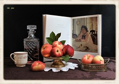 Girl with Peaches (Esther Spektor - Thanks for 12+millions views..) Tags: stilllife naturemorte bodegon naturezamorta stilleben naturamorta composition creativephotography art summer tabletop food fruit peach book picture decanter cup stand tray doily beverage juice glass metal porcelain lace pattern ambientlight white green yellow red burgundy golden brown black estherspektor canon