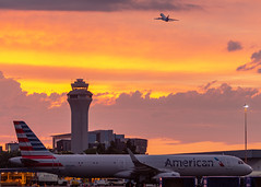 PDX Sunset-101 (Aaron A Baker) Tags: pdx sunset portland international airport american airlines air cargo plane tower control traffic pnw pacific north west clouds pink orange oregon columbia river