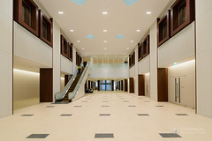 Main hall of Dokkyo University, West Building (獨協大学 創立50周年記念館) (christinayan01 (busy)) Tags: architecture building perspective university interior indoor space ceiling wall people