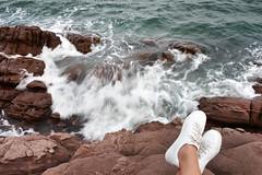 Rock (MelindaChan ^..^) Tags: guangxi china 廣西 rock water sea chanmelmel mel melinda melindachan 防城港 tide splash wave lady 怪石灘