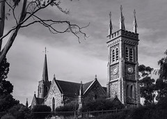 St. Andrews Church, Strathalbyn - South Australia (Trace Connolly Photography) Tags: church standrewschurch strathalbyn southaustralia architecture building spire spires clock watch time tower tree black white bw bnw blackandwhite blackwhite rural outside