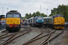 """Direct Rail Services Class 57/0, 57007 """"John Scott 12.5.45 – 22.5.12"""", Class 68, 68021 """"Tireless"""" & Class 37/4, 37424 """"Avro Vulcan XH558"""" (37190 """"Dalzell"""") Tags: br largelogoblue drs directrailservices revised compassswoosh tpe transpennineexpress northernstar firstgroup ee englishelectric type3 growler tractor ethfitted class37 class370 class374 brush type4 gm generalmotors geneticallymodified bodysnatcher heinz57 class47 class473 class57 class570 vossloh valencia cat class68 37069 d6769 37424 avrovulcanxh558 37558 37279 d6979 57007 johnscott12545–22512 47332 d1813 68021 tireless openday grestybridge crewe"""