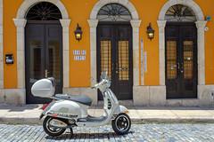 Tapas Bar (ep_jhu) Tags: oldsanjuan x100f building puertorico pr fujifilm velvia scooter marisqueria tapas super arches sanse fuji architecture viejosanjuan sanjuan yellow osj white
