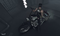 Motor Running (Sadwolf SL Photos) Tags: kalback optmusrace bike biker themancave tee shirt glasses smoke engine