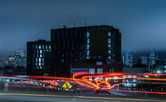 enter the exchange (pbo31) Tags: bayarea california nikon d810 color night dark black june 2018 boury pbo31 sanfrancisco city urban potrerohill lightstream motion traffic roadway 280 highway overpass skyline fog construction ramp blue missionbay