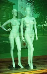 Winch and Blatch (Timm Ranson) Tags: 35mm film crossprocessed fujiprovia mannequin dummy reflection shopwindow timmranson sudbury suffolk streetphotography
