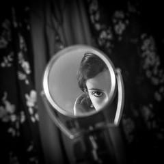 I'll Be Seeing You (nancy_rass) Tags: woman girl mirror reflection stare eyes vintage pretty beuty boudoir closet room look peek old model era 1700 georgian british style fashion patterns floral romantic austem shelley colonies colonial titanic edwardian victorian 1900 18thcentury 20thcentury blackandwhite monochrome