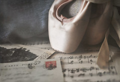 HOMESICK BALLET SHOES (Jazpix) Tags: balletshoes pointeshoes indoor sheetmusic cartepostale ribbons greytexture textureoverlay photoshopelements vintageballetshoes satin