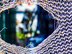Catching Monsters (Steve Taylor (Photography)) Tags: alien construction blue black green brown white closeup abstract newzealand nz southisland canterbury christchurch cbd city bokeh hole netting unrecognisable rip torn monster