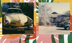 cars and house (EllenJo) Tags: karmannghia bungalow housesofclarkdale vws volkswagen diptych home clarkdale arizona 20thcentury verdevalley historic vintage ellenjo polaroid tropicalframe polaroidoriginals impossibleproject 2018 1973karmannghia 1914builtbungalow brickhouse instantfilm