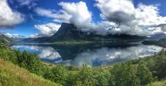 Fjordpanorama - - Panorama of fjord (erlingsi) Tags: fjord ørstafjorden liadalsnipa mountains norway ørsta fjell sky skyer clouds panorama