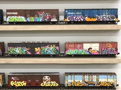 fullsizeoutput_881b (lnewman333) Tags: losangeles ca usa dtla downtownlosangeles chinatown socal southerncalifornia beyondthestreets streetart graffiti artexhibit retrospective fuyuaninternational warehouse art painted train traincars freighttrain boxcars railroad