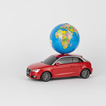 Red car with a world globe thumbnail