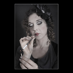 Smokin'... (KoenK68) Tags: roaringtwenties portrait 20s girl woman female cigaret light match fire smoking pretty hands canon ©koenk68