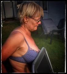 Thanks for posing... (iEagle2) Tags: woman wife summer sweden ehefrau female femme frau bra