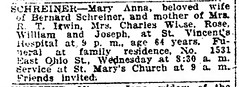 1919 - Mary Anna Schreiner obit - Indianapolis_Star - 11 Nov 1919