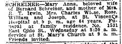 1919 - Mary Anna Schreiner obit - Indianapolis_Star - 11 Nov 1919