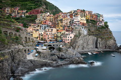 Manarola (pietkagab) Tags: manarola liguria cinqueterre town fishing longexposure water sea ligurian italy italian europe european 10stop nd evening cliff cliffside buildings colours pietkagab photography pentax pentaxk5ii piotrgaborek travel trip tourism sightseeing adventure