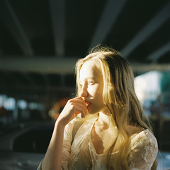 Dasha (belousovph) Tags: mediumformat analog film portra kodak 120 zenzanon bronica portra160 light russia grid minimal bridge kodakportra architecture lines girl portrait