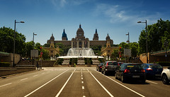 The Magic Fountain by day (seantindale) Tags: fountain magicfountain barcelona architecture street spain espana europe travel water olympus omdem5markii sky traffic cars