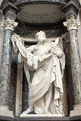 St. Bartholomew at the Basilica of St. John's in Laterno Rome 06182018 (Orange Barn) Tags: rome italy basilicaofstjohnsinlaterno catholicchurch basilica church carved sculpture marble apostles