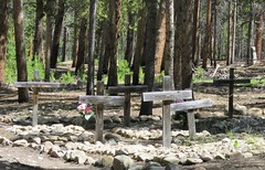 Wooden Crosses (Patricia Henschen) Tags: evergreen cemetery evergreencemetery leadville colorado historic wooden crosses catholic pathscaminhos