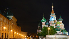 Opulence (Francoise100) Tags: russia russland moscow moskau moscou night nacht nuit towers lights colors colorful church kirche nightonearth lampposts streetlights cityscape eglise