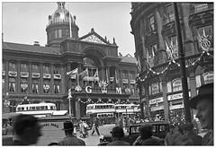 Snapshot by Phyllis Nicklin, 1935 Birmingham. (geoff7918) Tags: misspanicklin kinggeorgev jubilee may1935 victoriasquare christchurchbuildings daimler morris aec royalmail leica birmingham