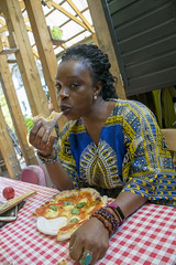 DSC_5094 Dalston Eastern Curve Garden London with Sopie from Côte d'Ivoire Basil Stone Baked Oven Pizza (photographer695) Tags: dalston eastern curve garden london with sopie from côte d'ivoire basil stone baked oven pizza
